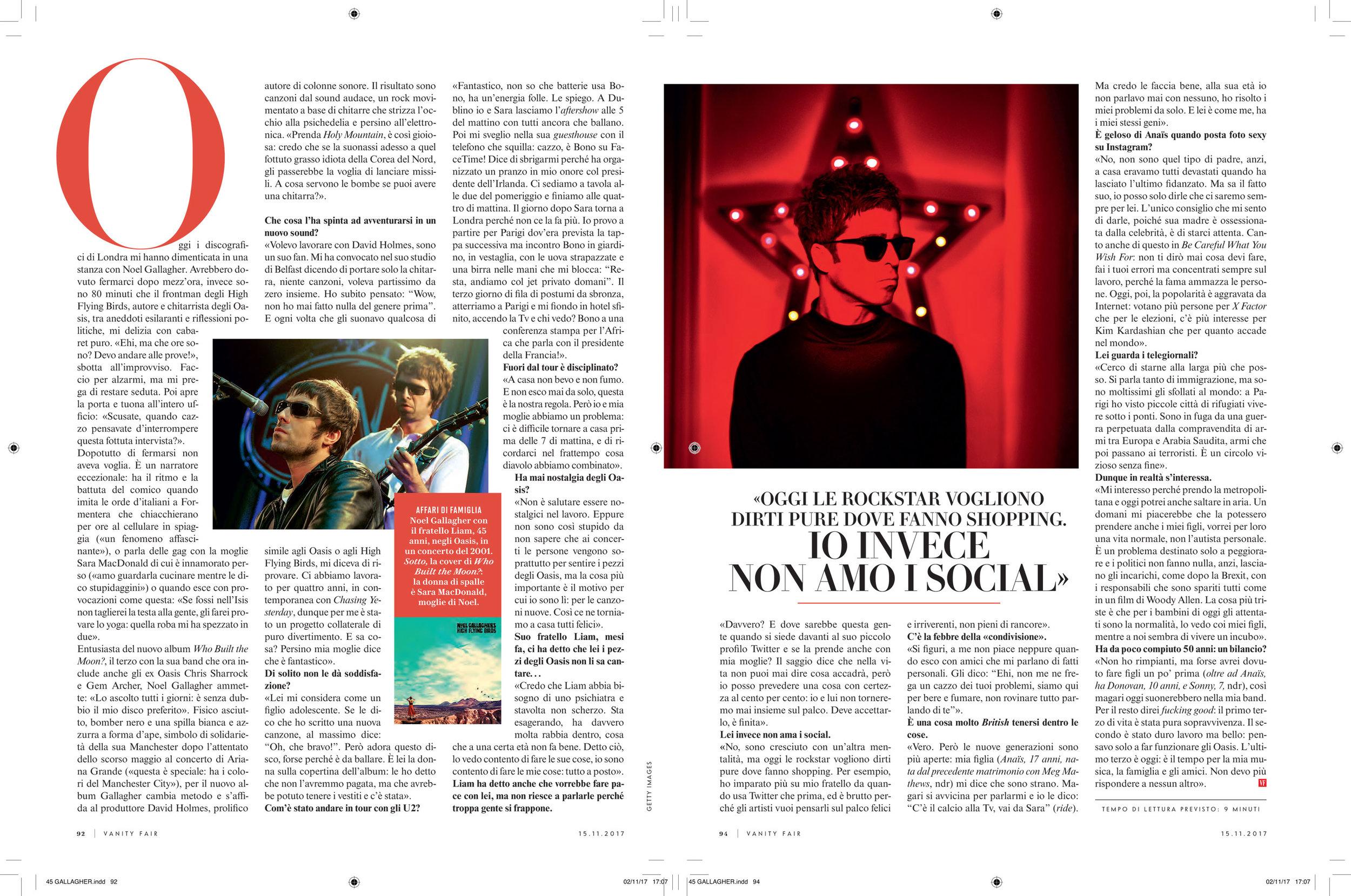 Vanity Fair: Noel Gallagher interview