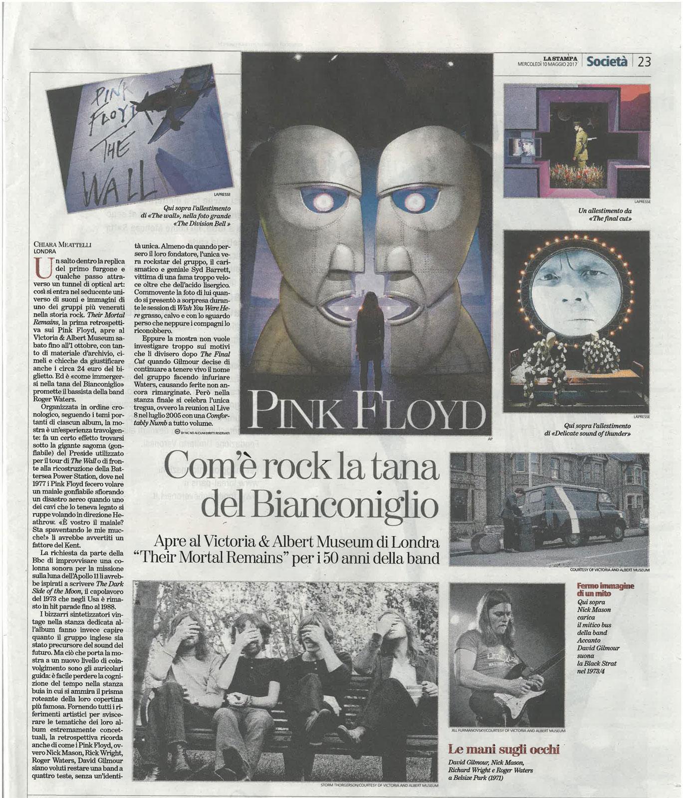 La Stampa: Pink Floyd exhibition