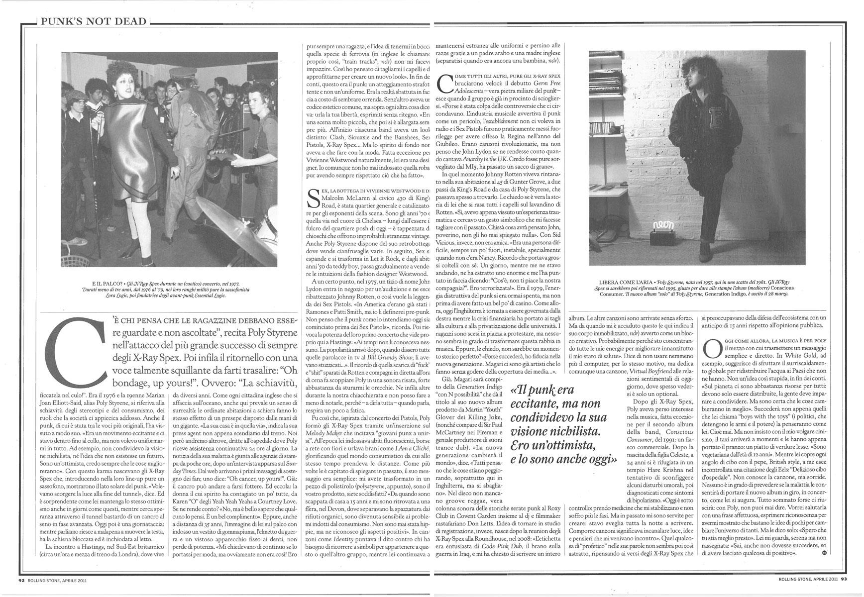 Rolling Stone magazine: Poly Styrene interview