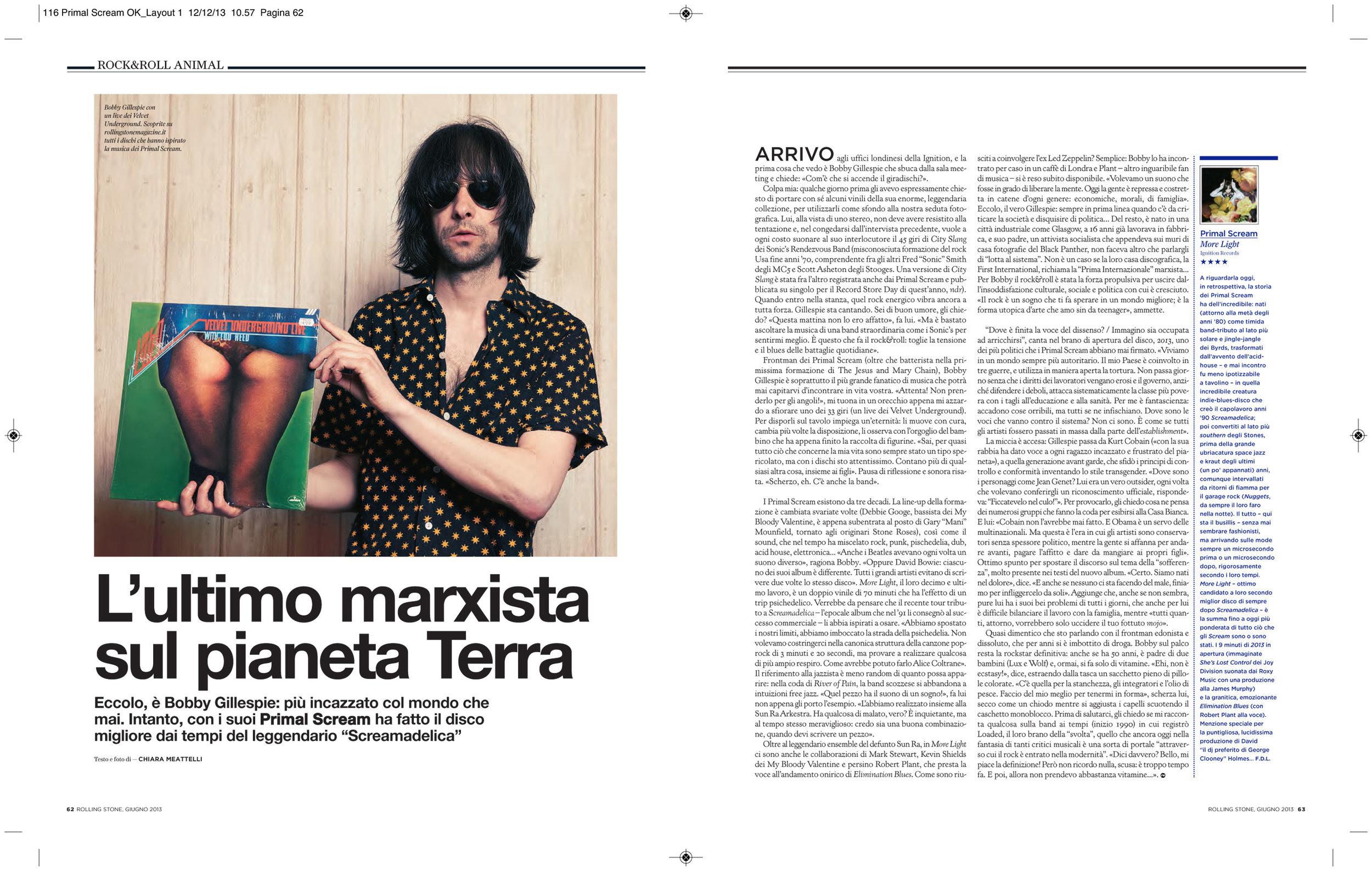 Rolling Stone magazine: Primal Scream interview & photo