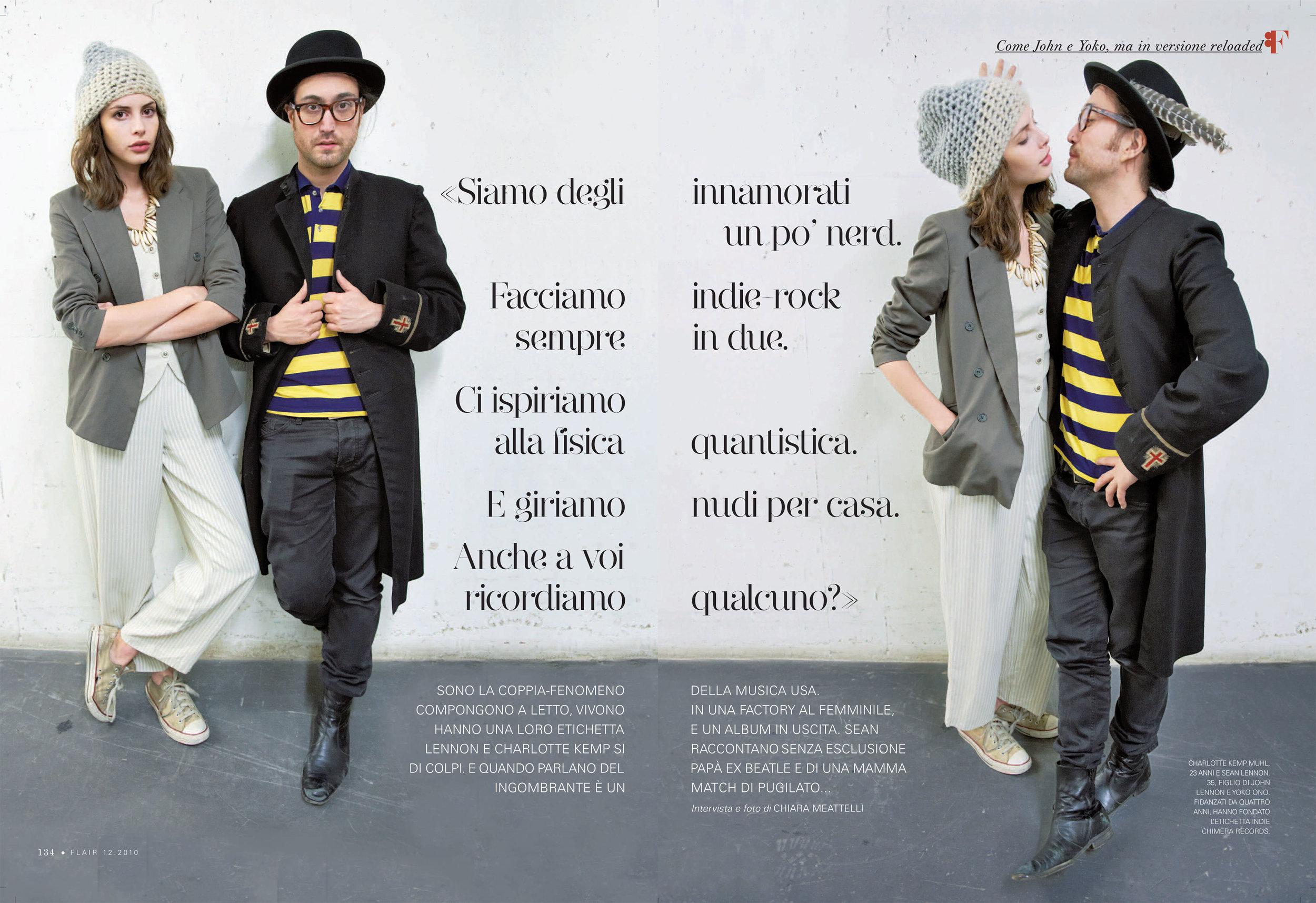 Flair magazine: Sean Lennon & Charlotte Kemp Muhl  photo & interview