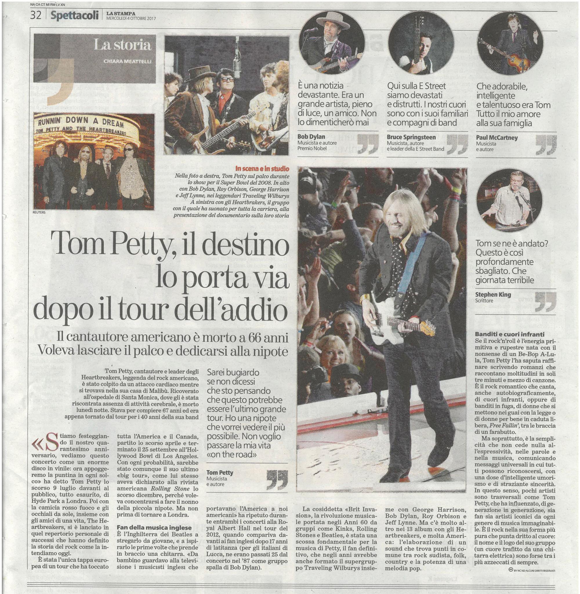 La Stampa: Tom Petty