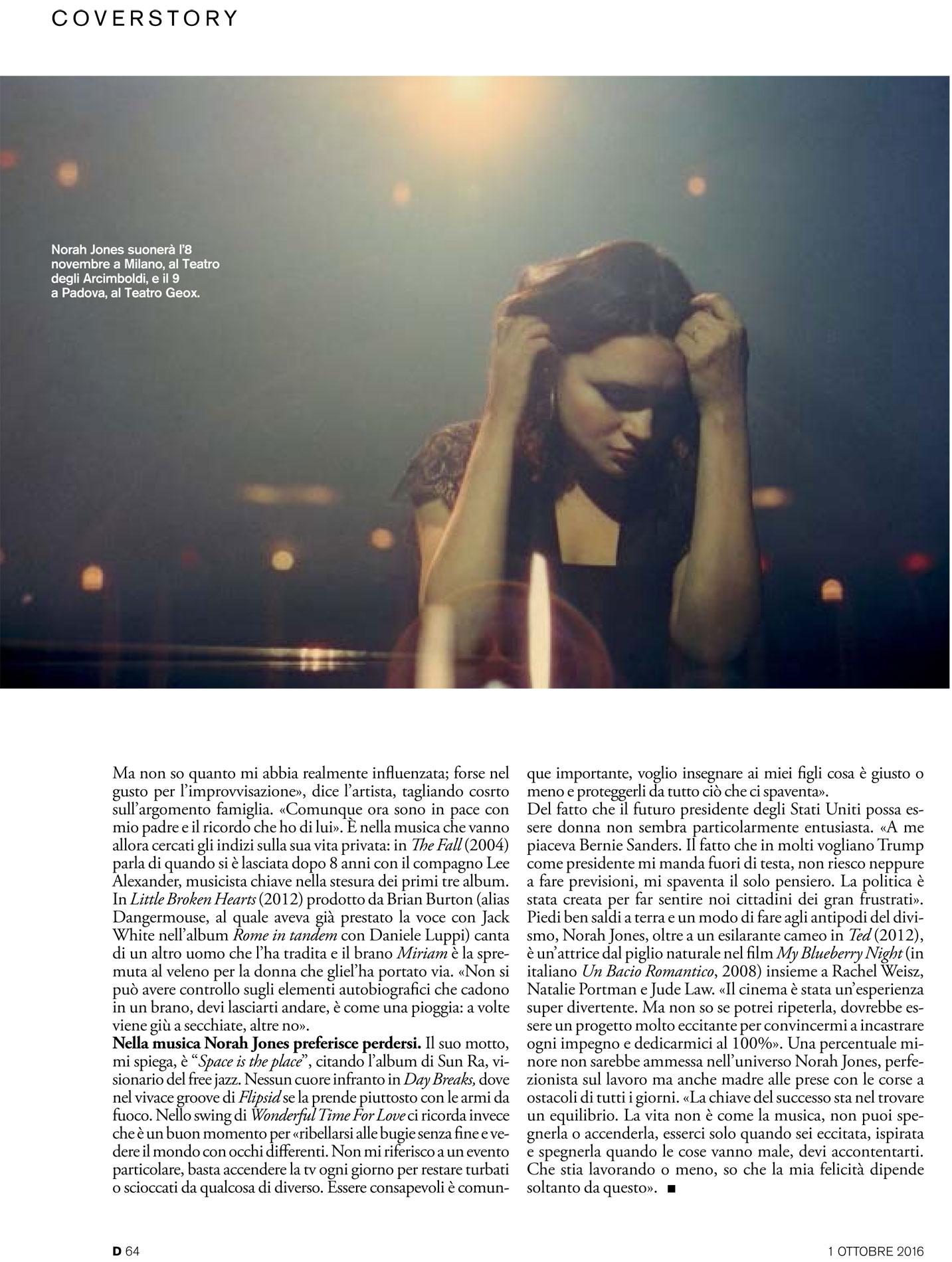 """""""D"""" La Repubblica: Norah Jones interview, cover story"""