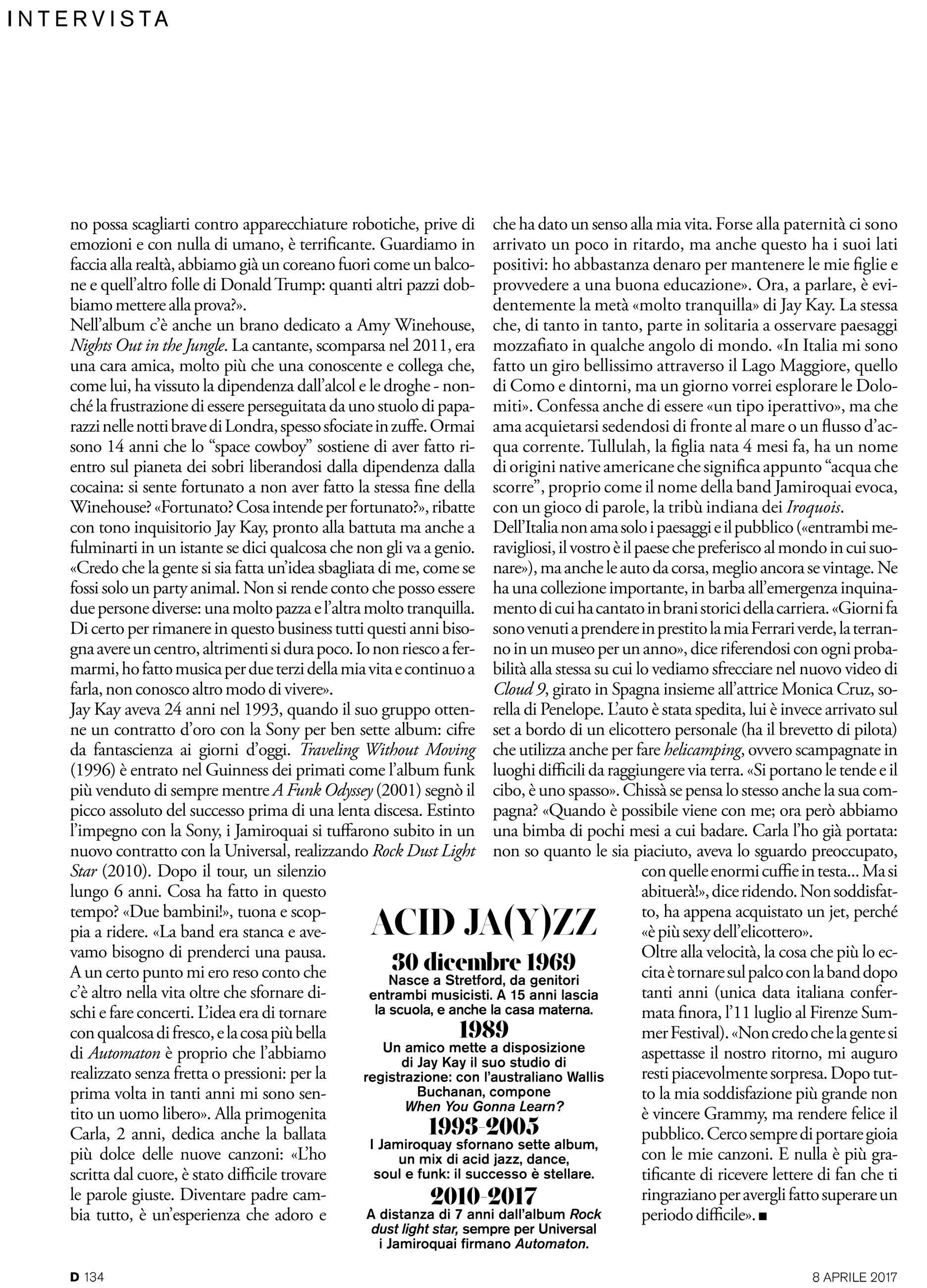 """""""D"""" La Repubblica: Jamiroquai interview"""
