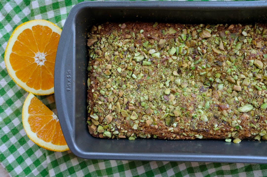 GF RASPBERRY + ORANGE CAKE W/ PISTACHIOS
