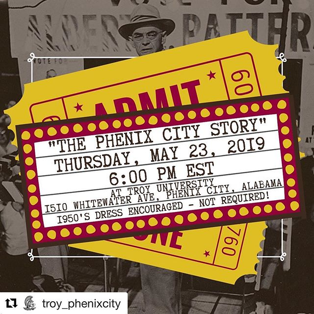 "This Thursday @troy_phenixcity - ""Join us at the riverfront campus for a film noir bash and special screening of the 1955 film, ""The Phenix City Story"" in partnership with the @waydownfilmfestival 🎬🎲🎉 The shindig kicks off at 6:00 p.m. EST. See you then! *1950's dress is encouraged — Not required!  https://www.facebook.com/events/667876363657455/ "" .. .. .. .. .. #phenixcity #alabama #sincity #film #fun #history #event #food #drinks #happy #instagood #photooftheday #columbusga #georgia"