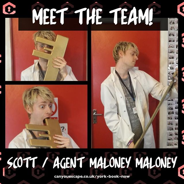 MEET THE TEAM⠀ It's one of our GMs back from sabbatical: Scott!⠀ ⠀ 1) WHO IS AGENT MALONEY MALONEY?⠀ Once a renowned cruise ship singer. Maloney's love of all things escape brought him to the escape room capital of the world, York. Now, he enjoys skulking in alley ways, long walks on the beach and belting old numbers out of his open bedroom window.⠀ ⠀ 2) WHAT DO YOU ENJOY DOING BEYOND CAN YOU ESCAPE?⠀ Outside CYE I can be found researching musical theatre and film at York for my PhD.⠀ ⠀ 3) IF YOU HAD TO THEME AN ESCAPE ROOM AROUND AN ITEM OF FOOD, WHICH WOULD YOU CHOOSE?⠀ All shall fear the room of cheese!⠀ ⠀ #cheese #canyouescape #meettheteam #escaperoom #york
