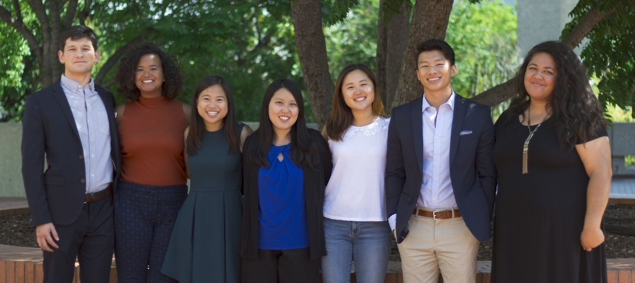 - Left to Right: Joshua Jiang, Susana Abdurahman, Angela Yip, Lena Pham, Alison Choi, Kevin Hang, and Louisa Sasi