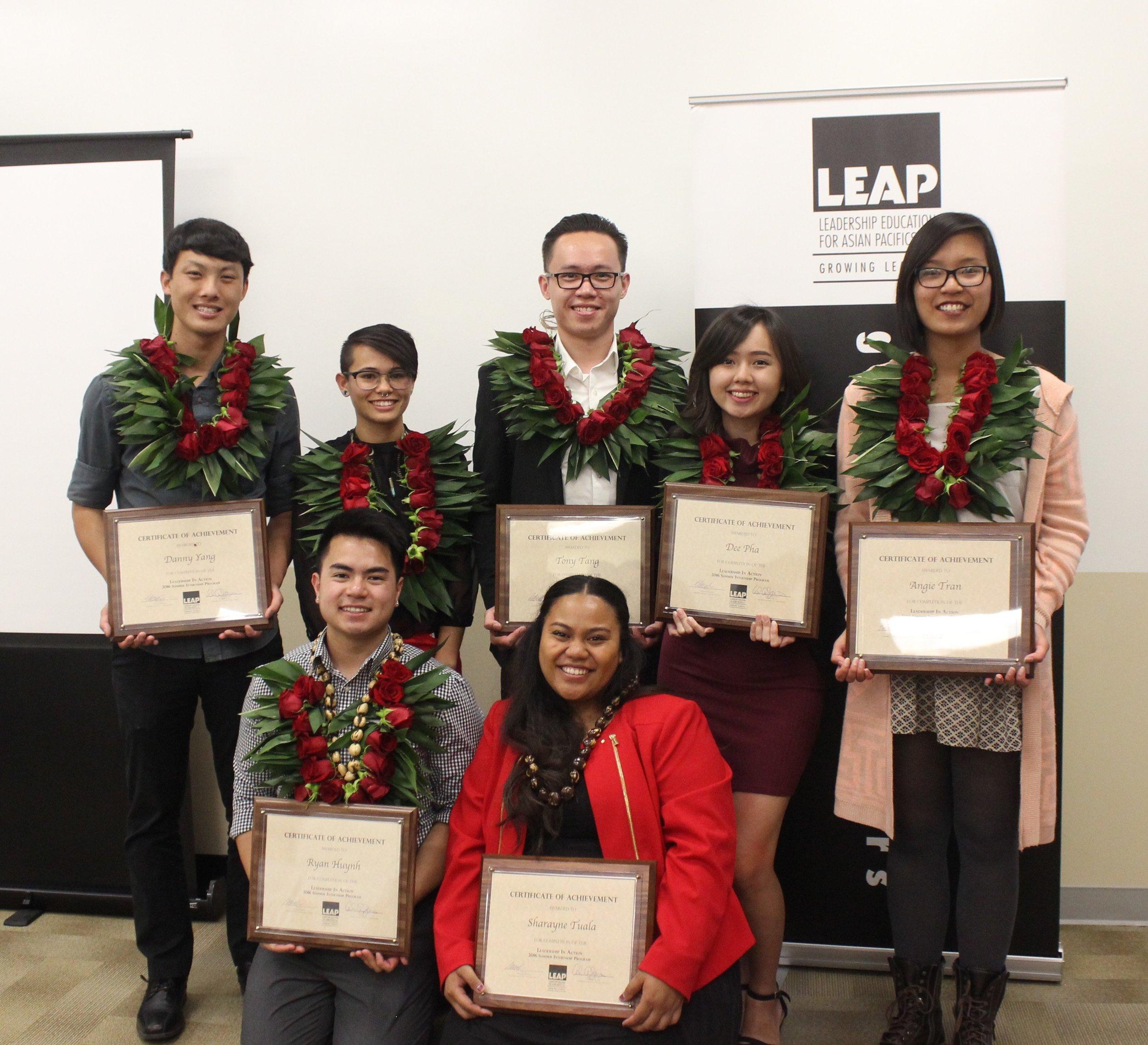"Left to Right (top row): Danny Yang, Aian Hurtado-Doppenberg, Tony Tang, Dee Pha, and Angie Tran Left to Right (bottom row): Ryan Huynh and Sharayne ""Ray-Ray"" Tuala"