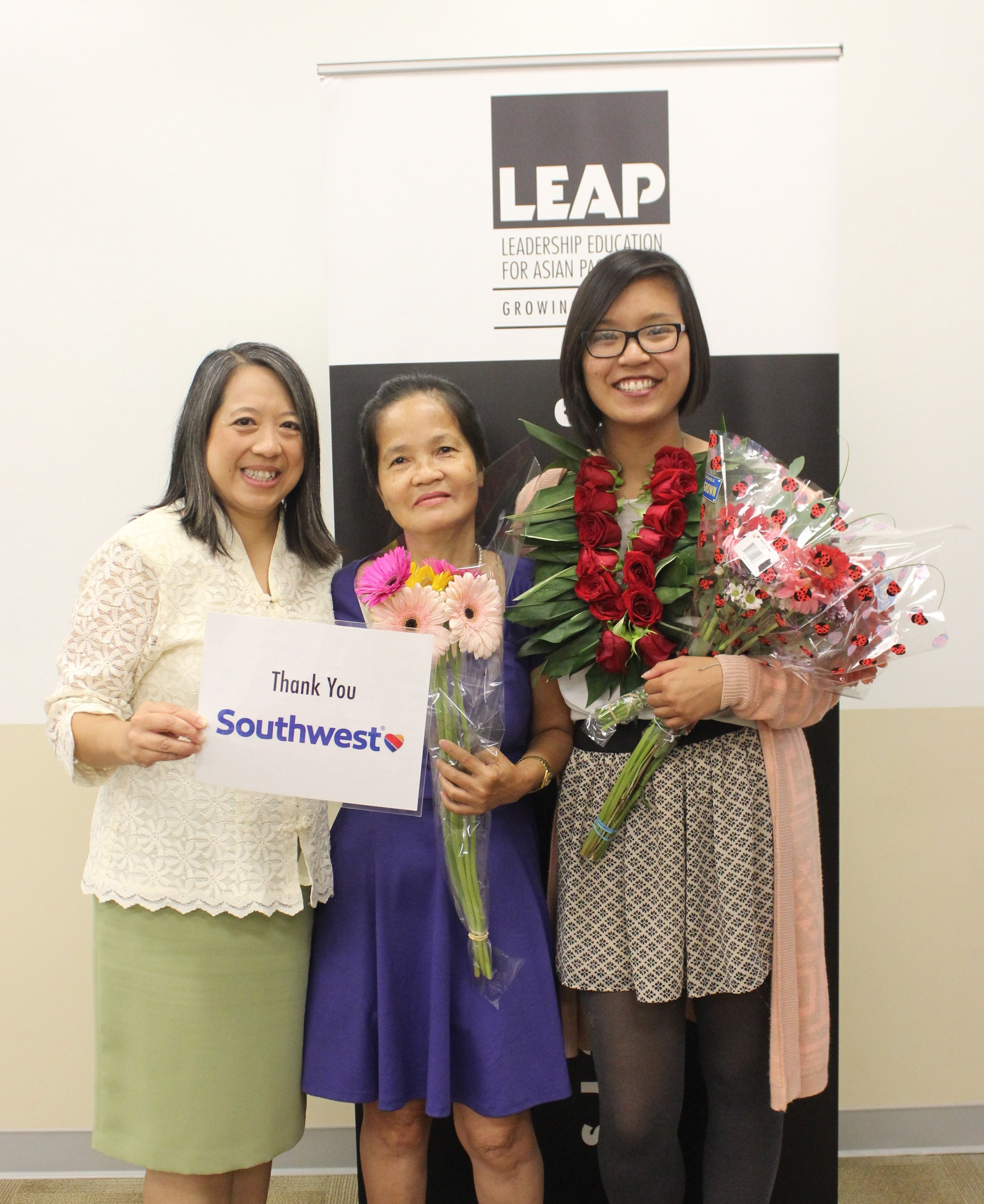 Left to Right: Chancee Martorell (CBO supervisor), Angie's mother, and Angie Tran