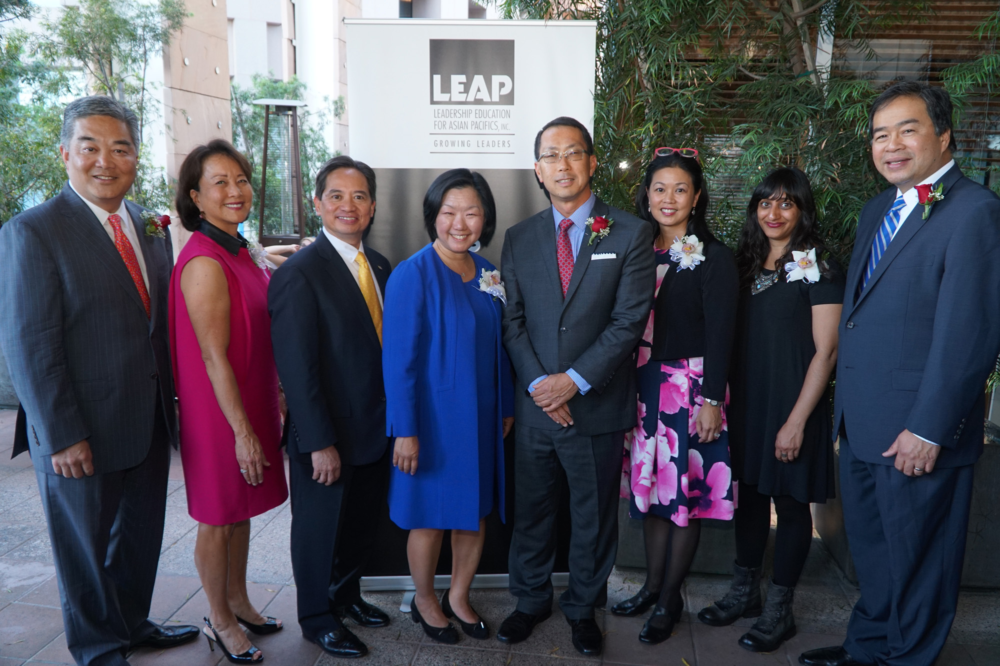 From left to right:  Willie C. Chiang, Phyllis J. Cambell, Kenneth Chung (LEAP Board Chair), Linda Akutagawa (LEAP President & CEO), KC Choi, Andrea Louie and Anjali Goyal (on behalf of the Asian American Arts Alliance), and A. Gabriel Esteban
