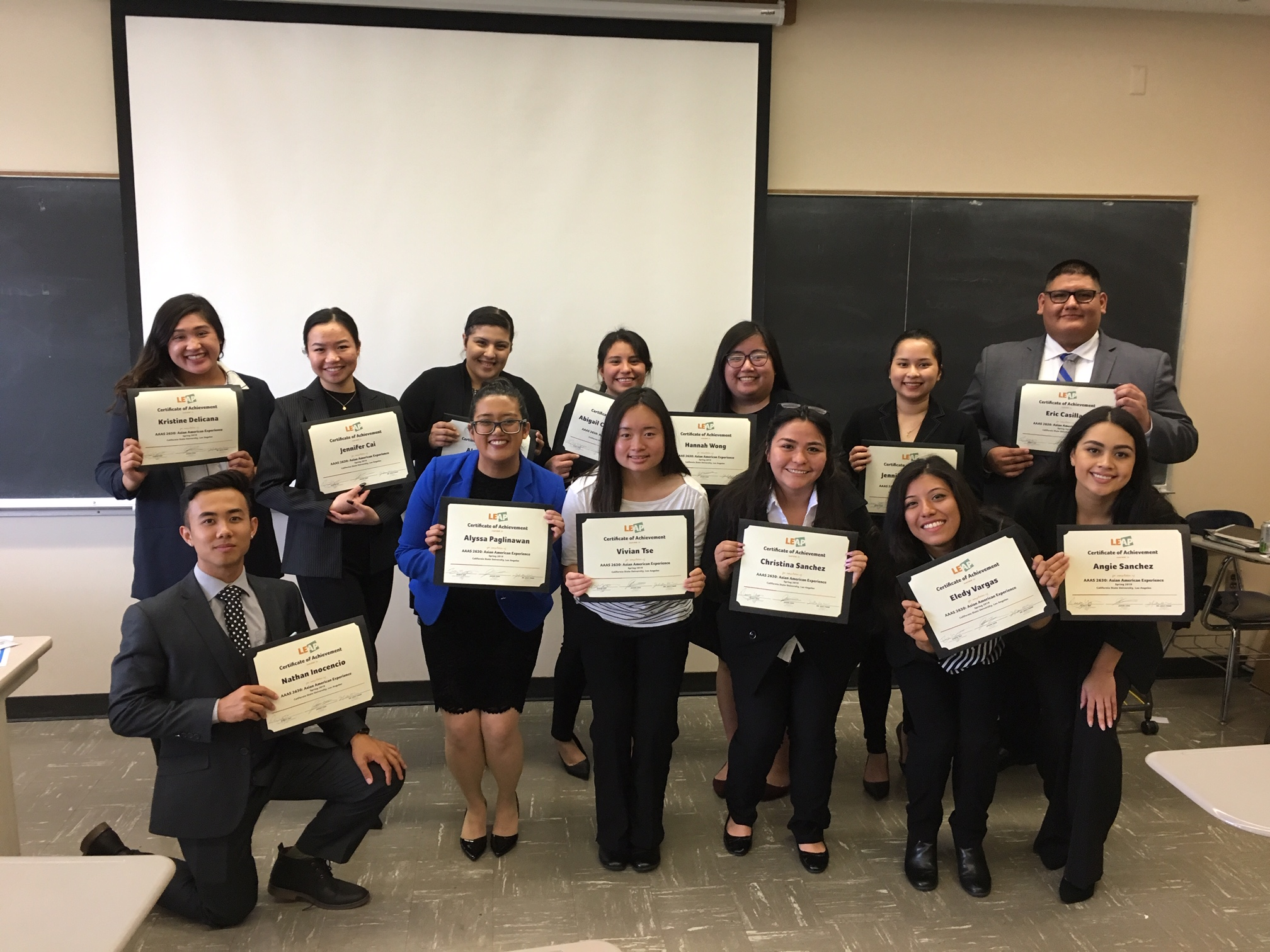 Top right to left: Kristine Delicana, Jennifer Cai, Alyssa Mejia, Abigail Calderon Garcia, Hannah Wong, Jennifer Srichandr, Eric Casilla  Bottom right to left: Nathan Inocencio, Alyssa Paglinawan, Vivian Tse, Christina Sanchez, Eledy Vargas, Angie Sanchez