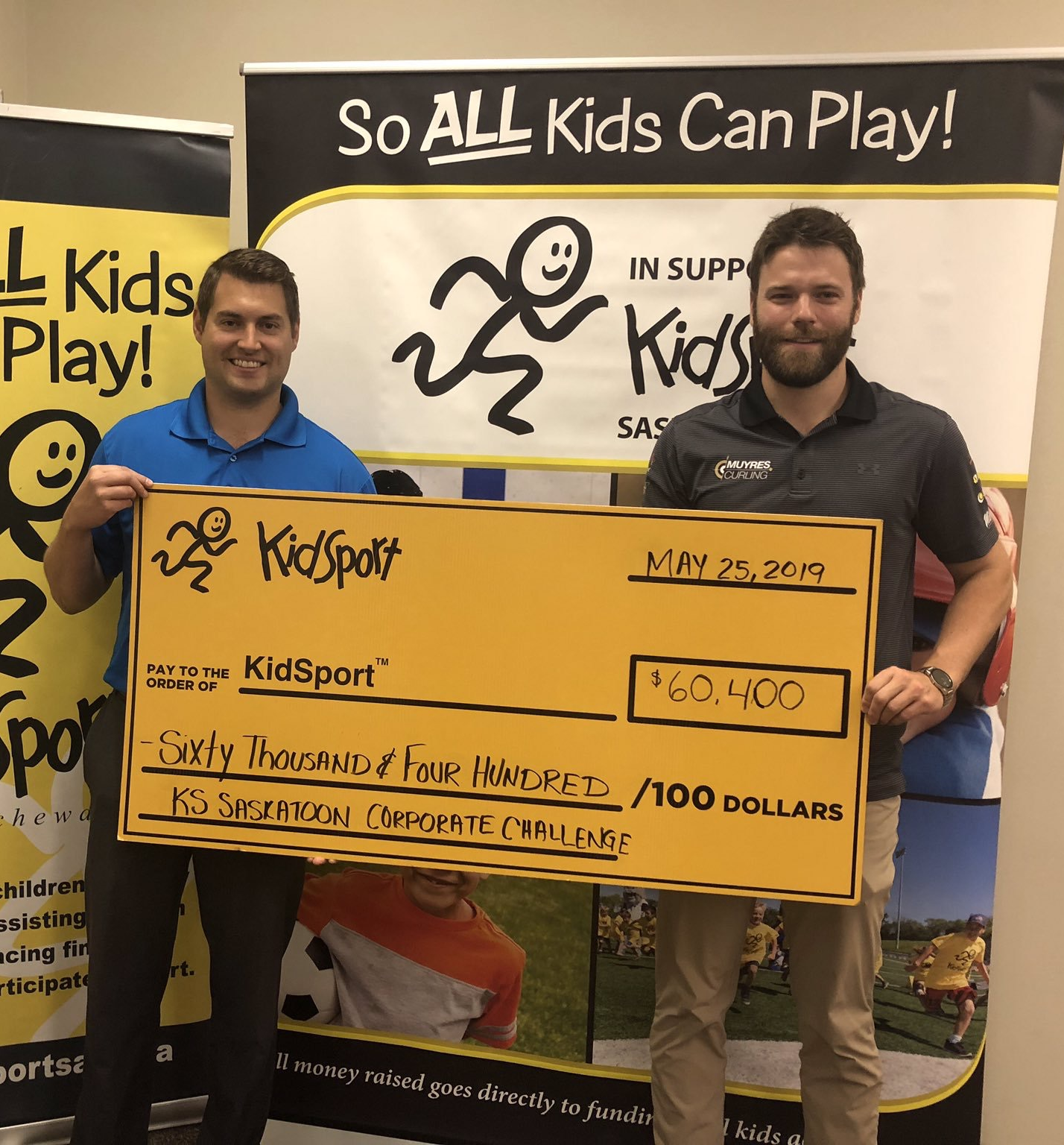 In Saskatoon this year Kirk presented a donation to KidSport for our 2018-2019 winnings. This helped KidSport attain their goal of $60,000 for the Saskatoon Corporate Challenge.