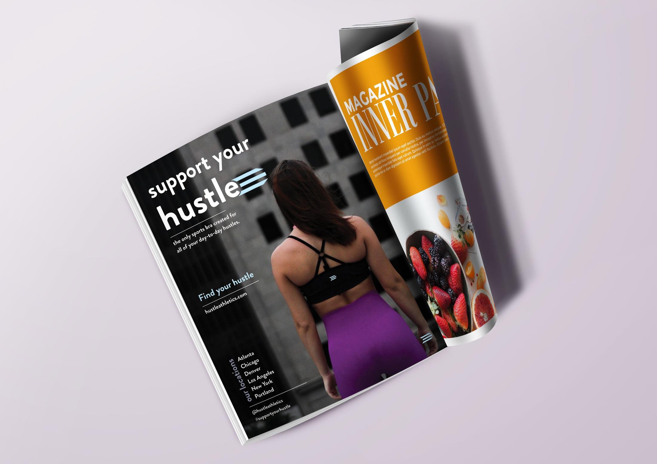 Magazine ad for  Hustle sports bra concept
