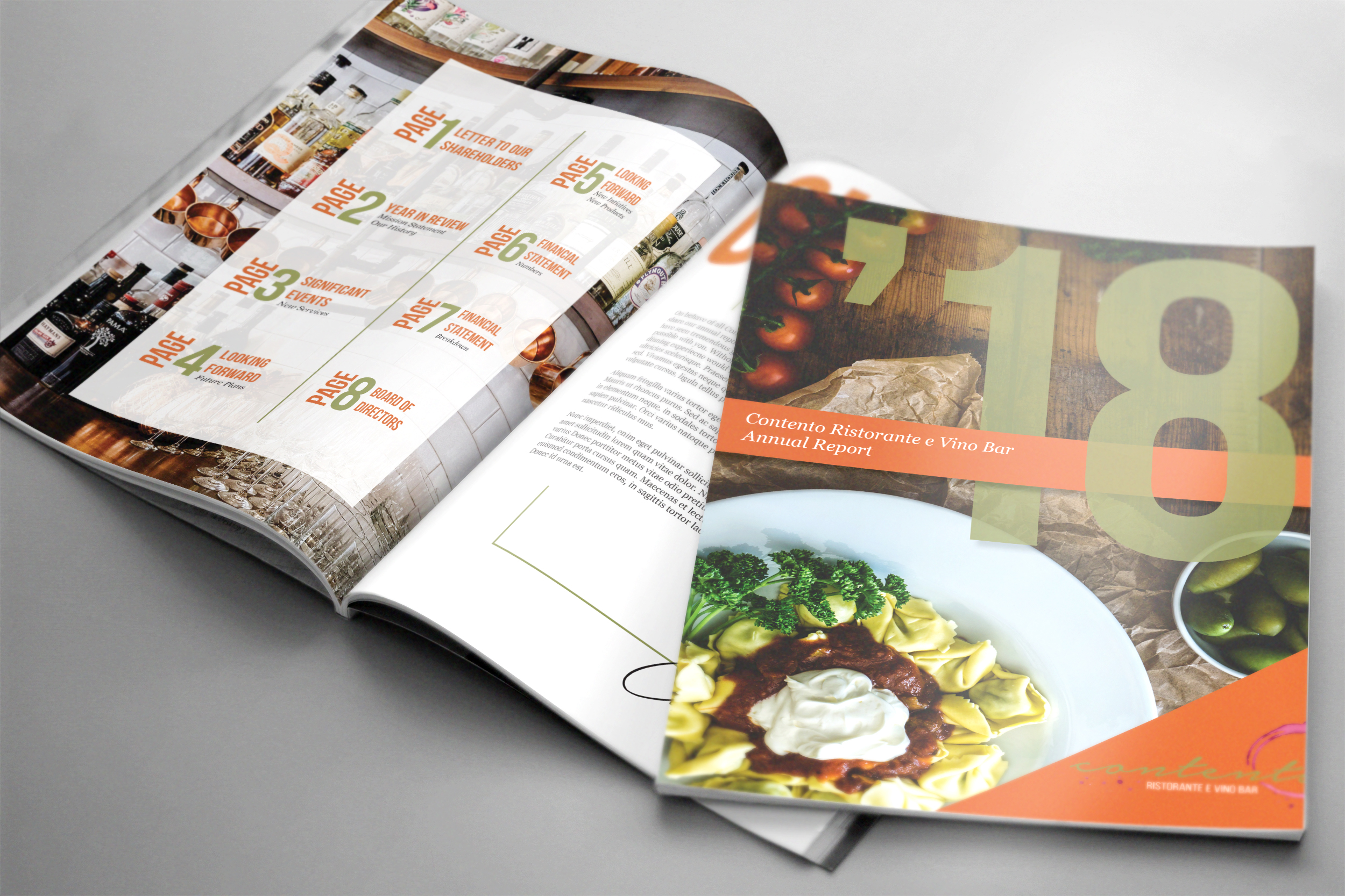 Annual Report for concept restaurant  Contento