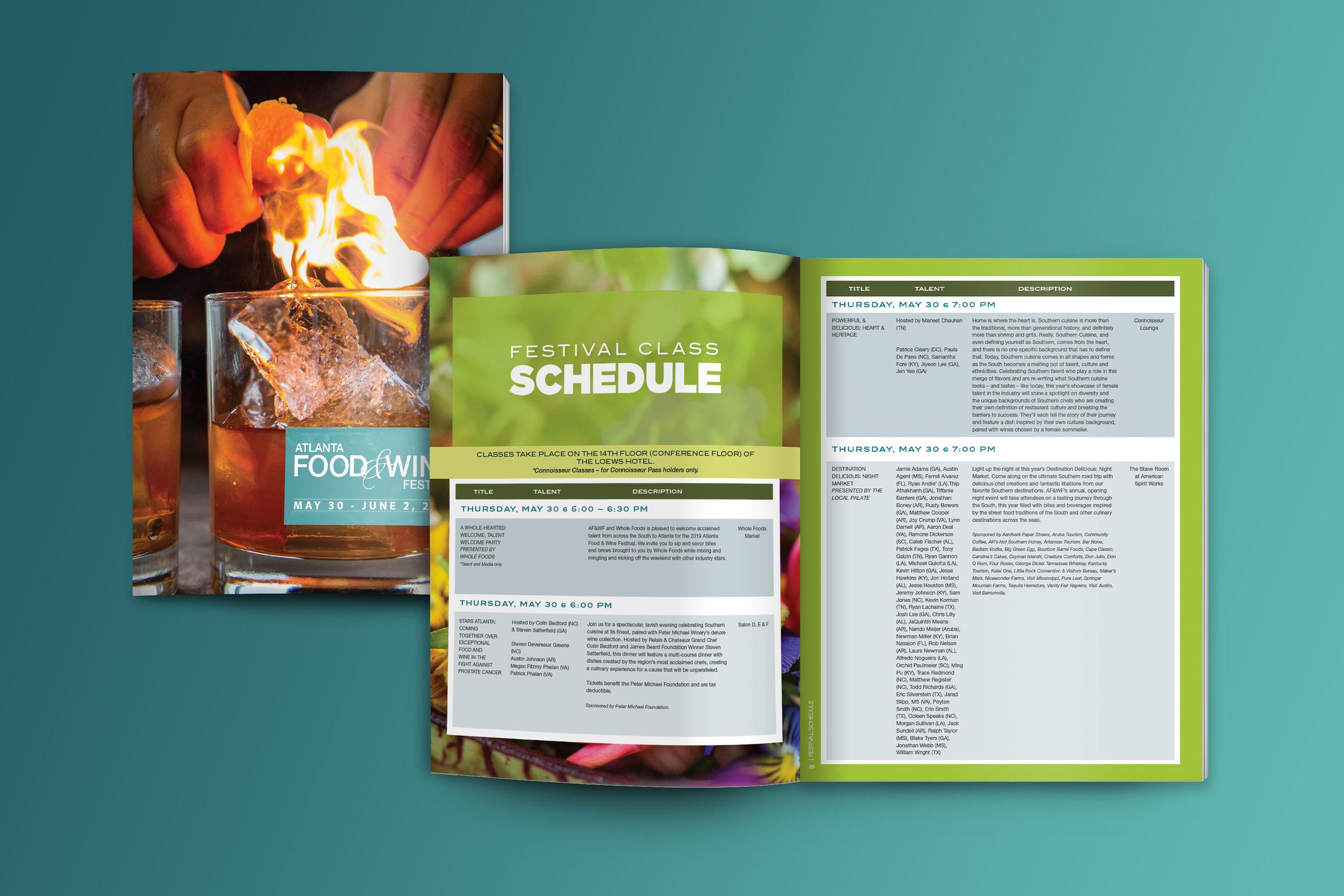 Program guide for Atlanta Food & Wine Festival