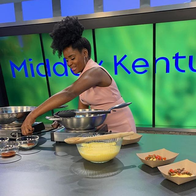 When I'm here, I'm in my element. 🌸  Yesterday, I had the opportunity to demo one of my favorite savory vegan dishes live on @MiddayKentucky. 'Shrooms & Grits, baby!  And THIS HERE is one of my favorite things to do... bring people together around good food... and change their lives in the process.  Hair: Me Styling & Makeup: @gorjesssssz  Daytime Anchor: @AmberFreemanTV . . . . . . #sooncome#veganchef#plantbasedfoods#veganstrong#atlantaactor#plantfueled#plantprotein#plantbasedvegan#veganmeals#eatmoreplants#plantbasedmeal#plantbasedrecipes#eatplants#foryourhealth#fortheenvironment#cheflife#icookonTV