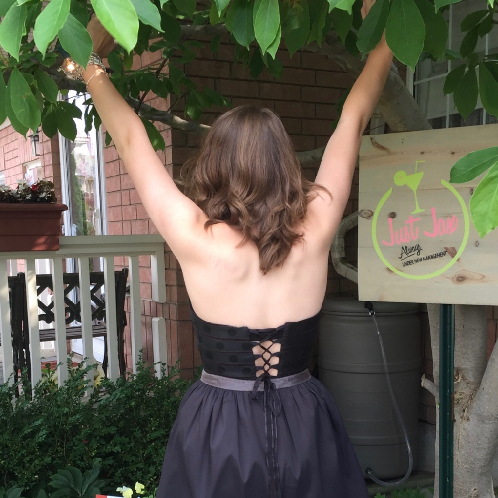 Woman in Althea's Black Dress From the Back | Sewing and Cake Art Studio in Milton, ON