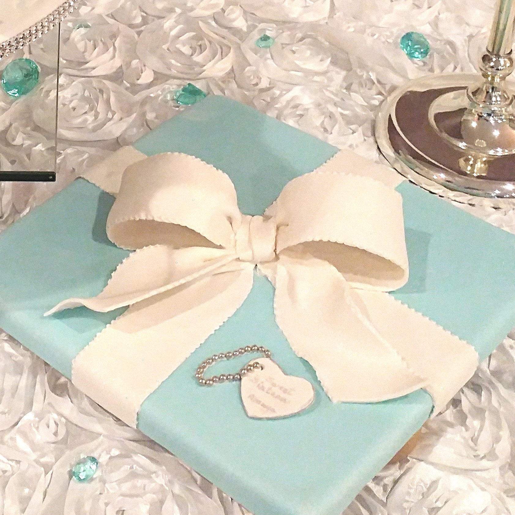 Blue Gift at the Top of the Wedding Cake | Sewing and Cake Art Studio in Milton, ON