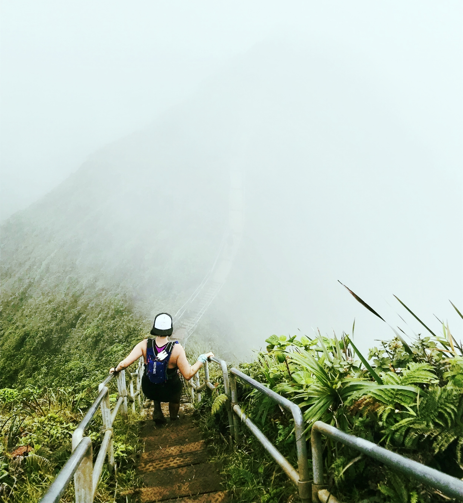 Climbing down the Stairway to Heaven on a foggy day.