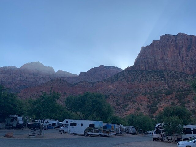Evenings at Zion Canyon Campground.