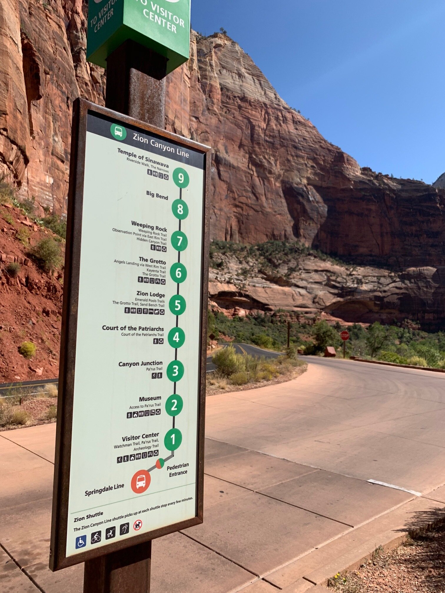 The free shuttle map in Zion National Park.