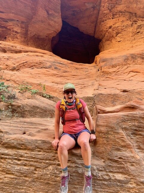 This is me goofing around up the switchbacks to the top of Angels Landing in Zion National Park. I was still feeling good here. Ha ha ha, that changed after a few hours of climbing.