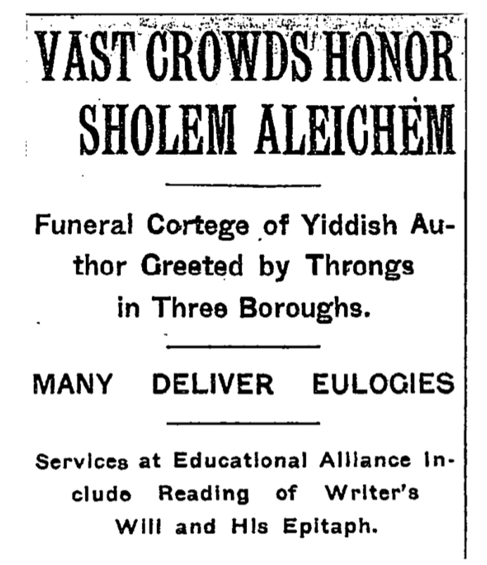 Sholem Aleichem NYT funeral 1916.png