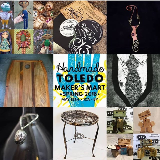Pegboard Press will be at @handmadetoledo tomorrow for Maker's Mart: Spring  2018, booth 37 (right as you walk in to the event)! Come check out the various prints for sale, learn about upcoming workshops, and also check out the excellent ceramic work of @taerxleben !