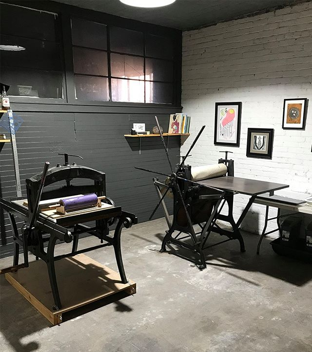 Pegboard Press has expanded! The shop has moved to a larger location, still on the second floor of Gathered Glassblowing Studio, and has added a 1910 Fuch & Lang lithography press. Expect updates coming soon!
