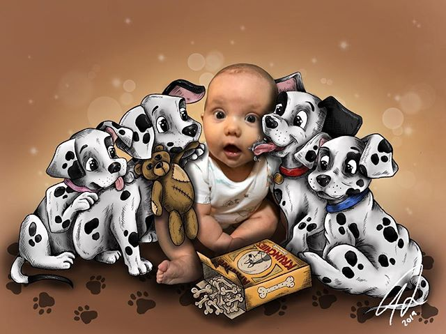 """ToyChihuahua or Great Dane, All love Kanine Krunchies"" (and babies too!) #101dalmatians #101dalmations #disney101dalmatians #disney #disneyart #disneyillustration #cruelladevil #kaninekrunchies #babyillustration #photoillustration #illustration #freelanceillustrator #mummyartist"
