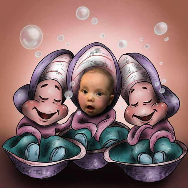 Little oyster babies #oysterbabies #aliceinwonderland #disneyaliceinwonderland #disneyart #disneyillustration #babyillustration #photoillustration #freelanceillustrator