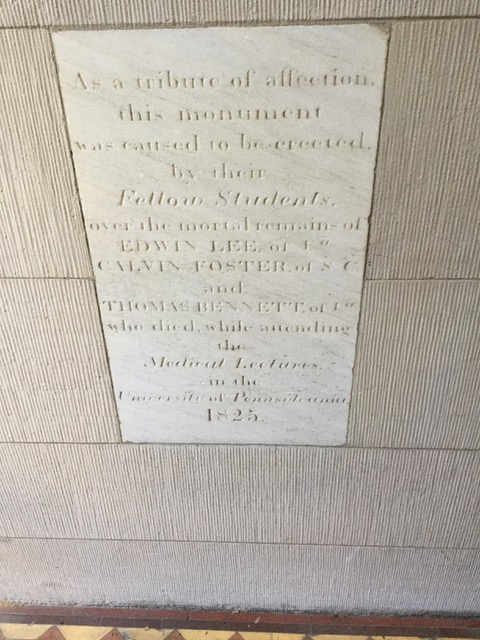 John Struthers, Grave marker for 3 Penn med students, 1825