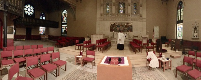 Panoramic view of transept and east wall