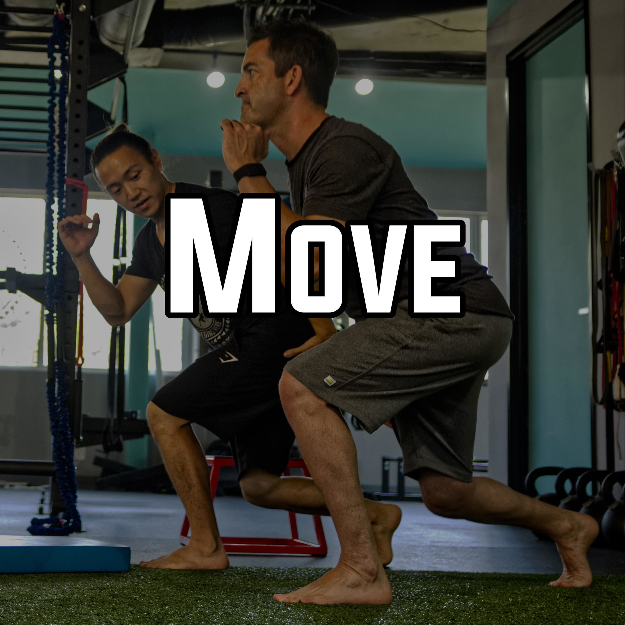 The workouts begin. Starting with the fundamental movements of Push, Pull, Squat, Hinge, Carry, Rotations/Anti-rotations. These are the fundamentals we help you fine-tune and make sure you're utilizing all the right muscles to do the correct movements.