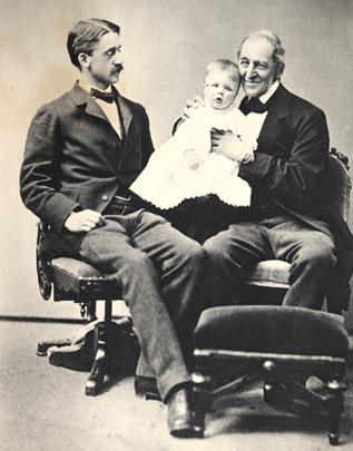 edward waldo emerson, and ralph waldo emerson holding his grandchild charles emerson.courtesy of concord free public library.