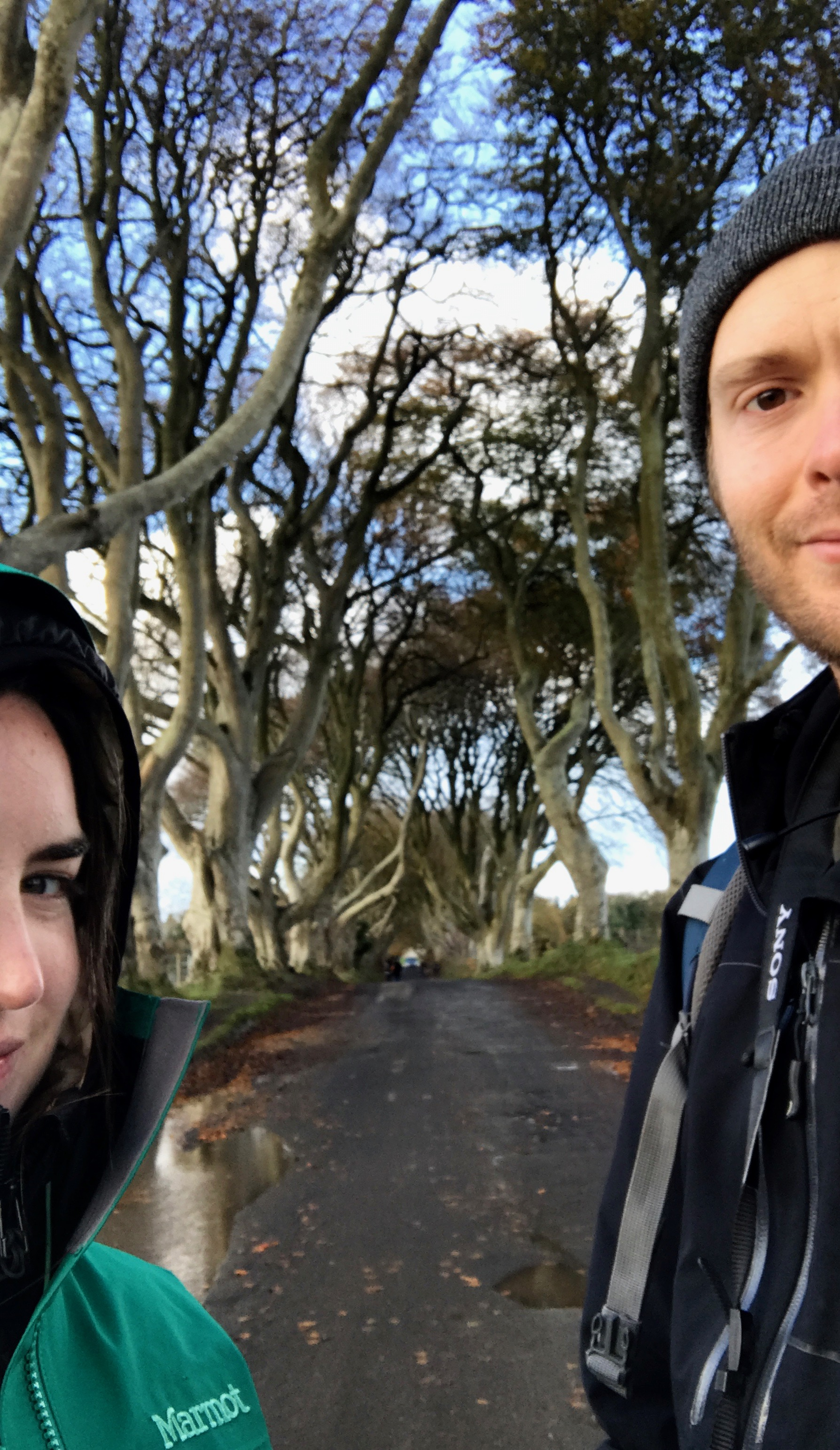 Me and Derek enjoying (though frozen) the Dark Hedges.