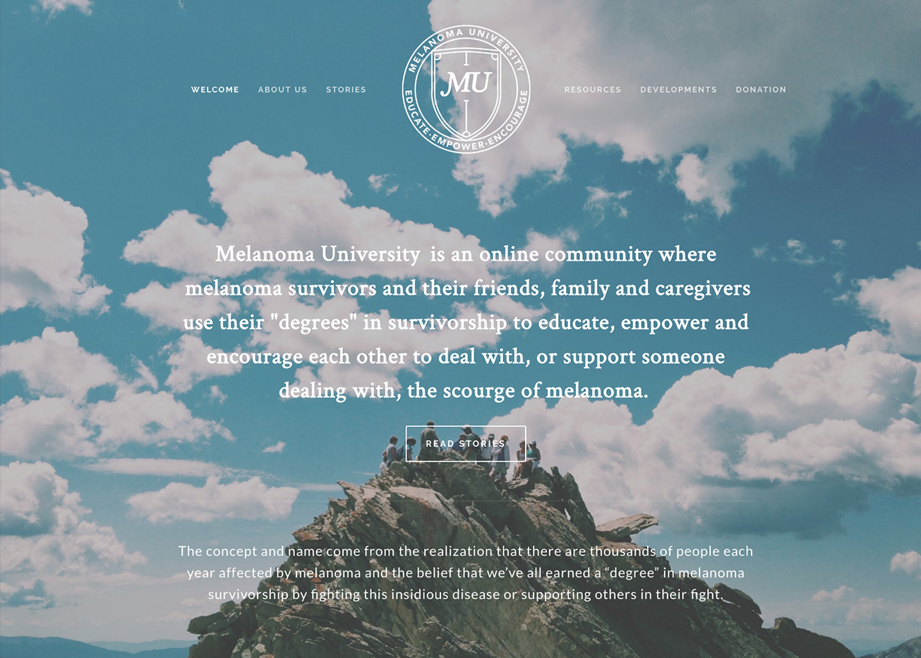Homepage concept for Melanoma University