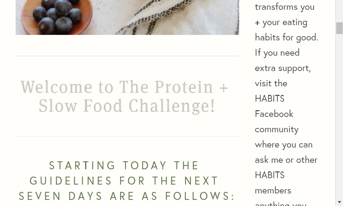 Simple + helpful program content. - 40+ content pages with Challenge details, additional exercises, self care tips, modifications + sample menus.
