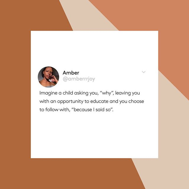 Embrace the opportunity to educate instead of being dismissive. Children are so impressionable; be aware of how you speak to children. #storiesofwomen #mindfulness #connect #reparentinf ⠀⠀⠀⠀⠀⠀⠀⠀⠀ Repost from: @r29unbothered Tweet by: @amberrjoy