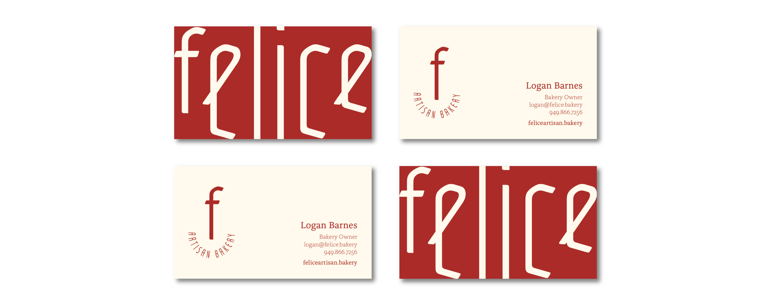 Business Cards for Felice Artisan Bakery.