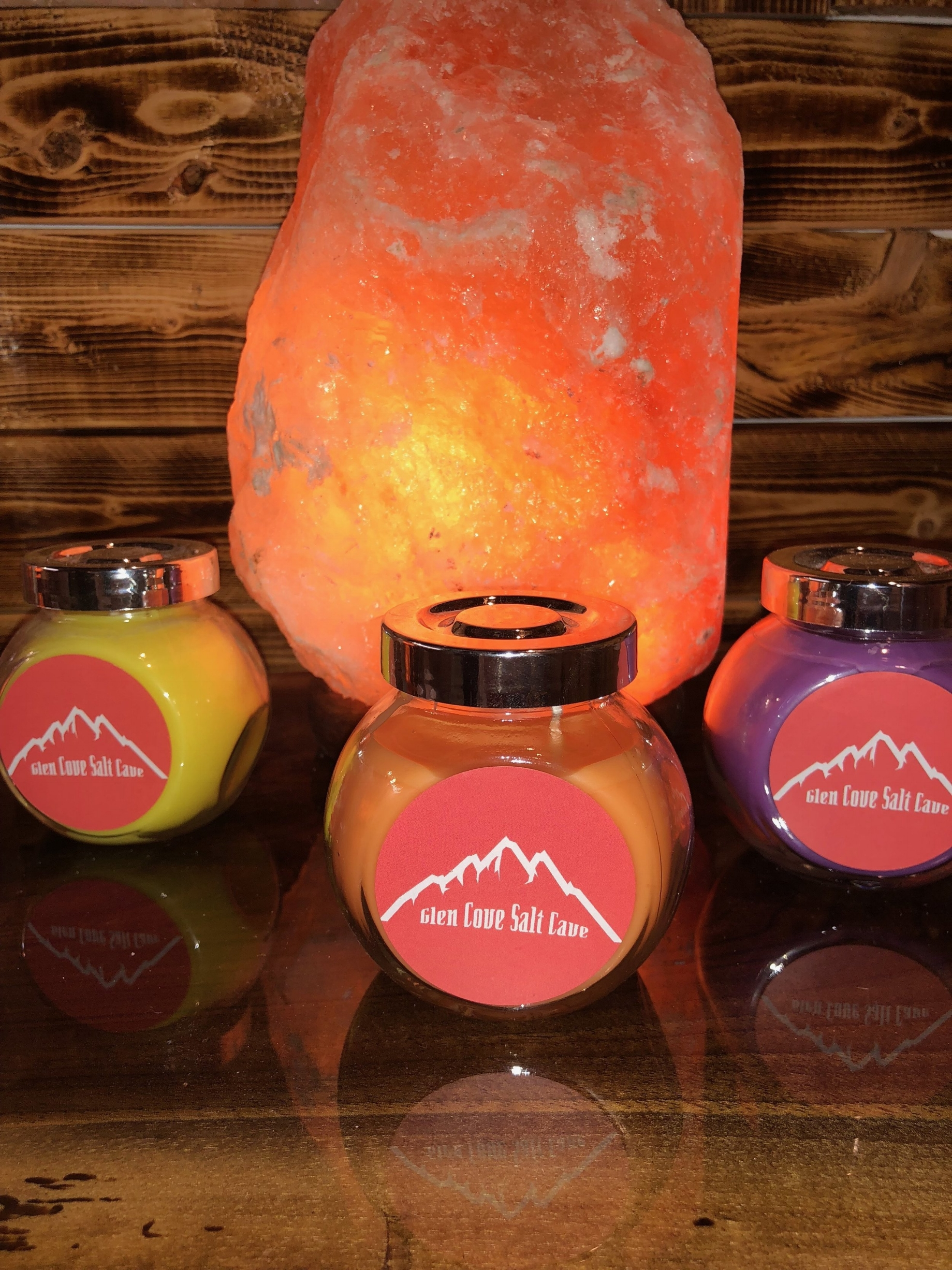 Our Salt Lamps and Scented Candles  Scented candles come in:  Lavender, Coconut and Sage Citrus