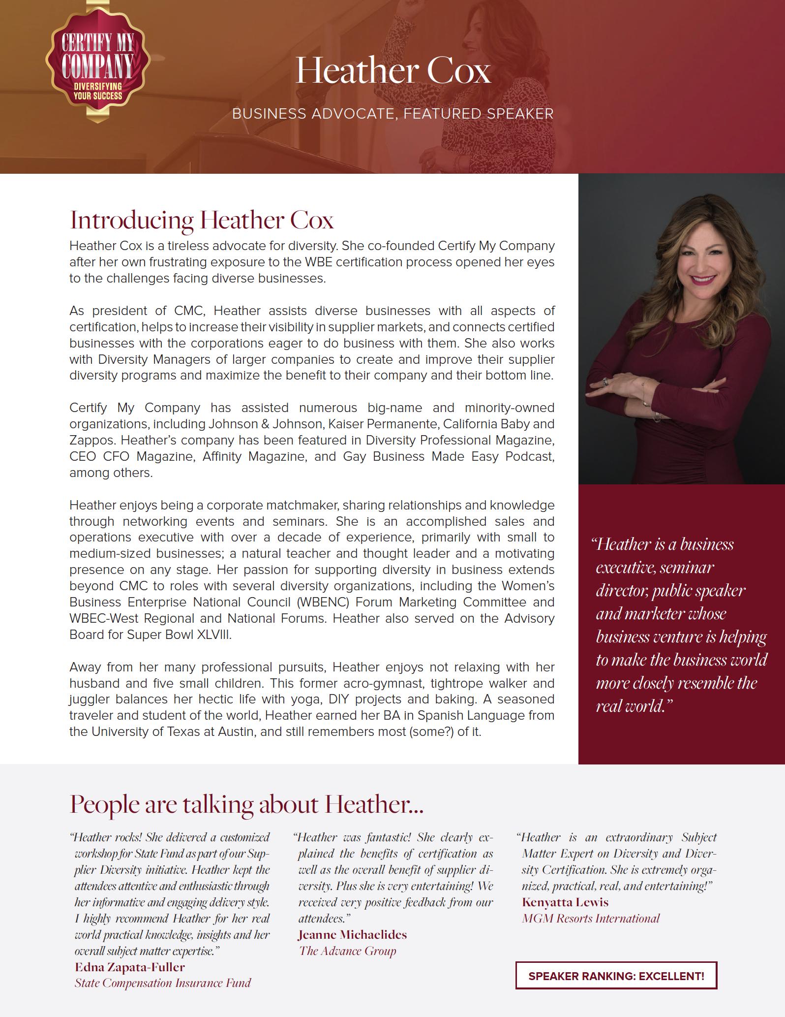 Click to download Heather's Company Development speaker sheet: