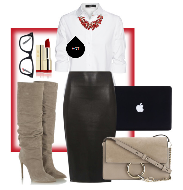 Leather skirts are hot. Wearing one to work can work for you, if the length is at least to the knee and the top is conservative (read: not too low-cut or open in the front). Paired with a statement necklace and heeled boot, this outfit is chic corporate.