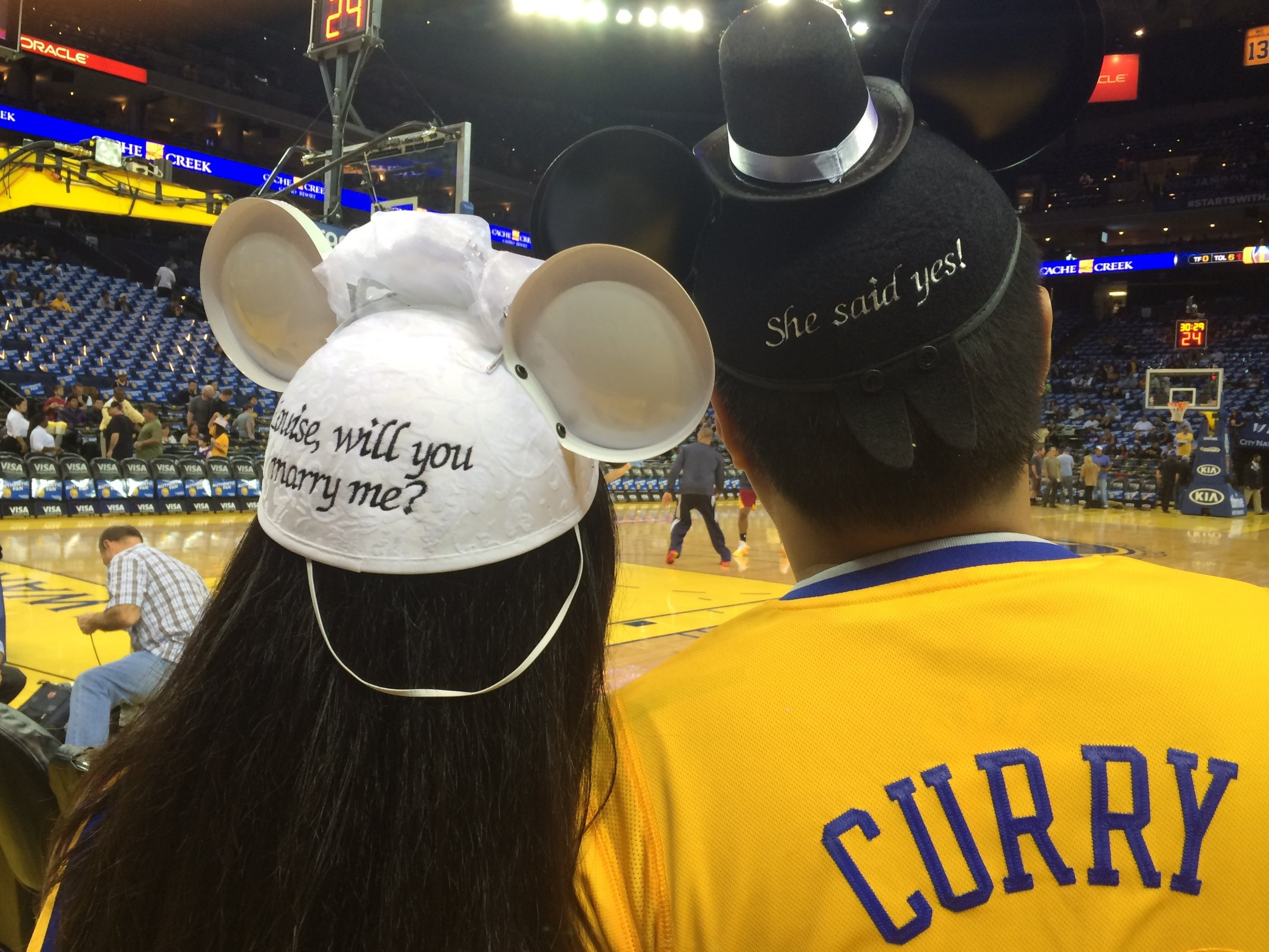 Taken court side after Christian proposed (2014).