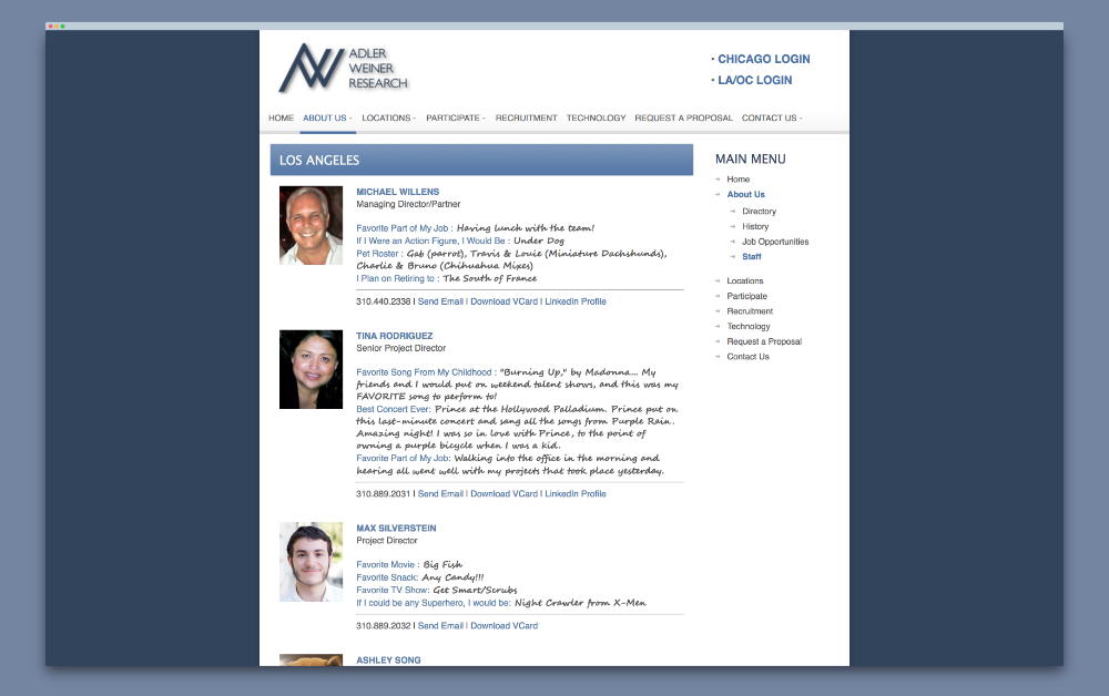 A snapshot of their current staff page, before our redesign.