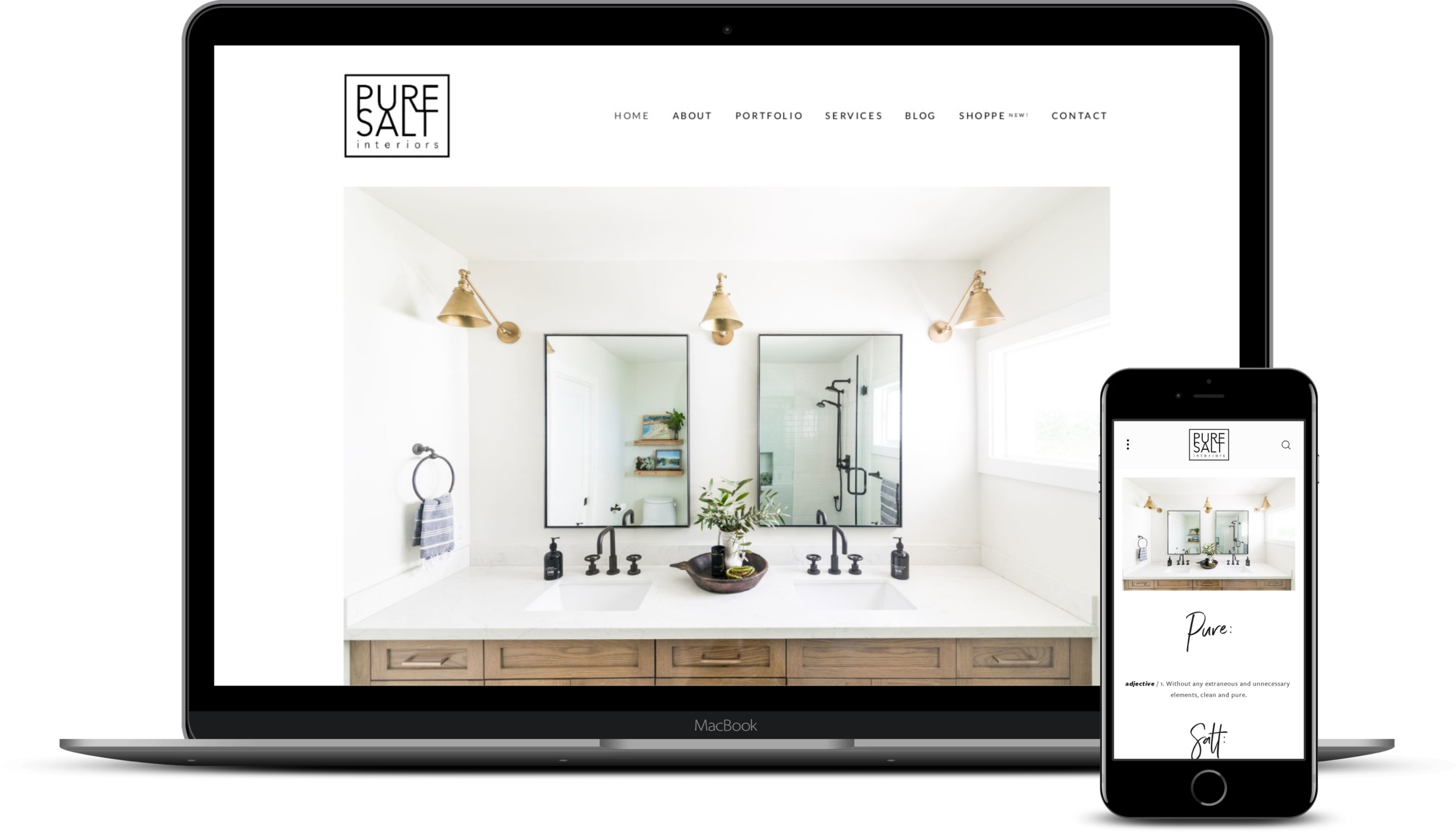 Pure Salt Interiors - Pure Salt Interiors is a full service interior design agency based in Laguna Beach, CA. We worked with their vision to build a website that reflected their brand and bright, clean, coastal design style, with an e-commerce store to match.
