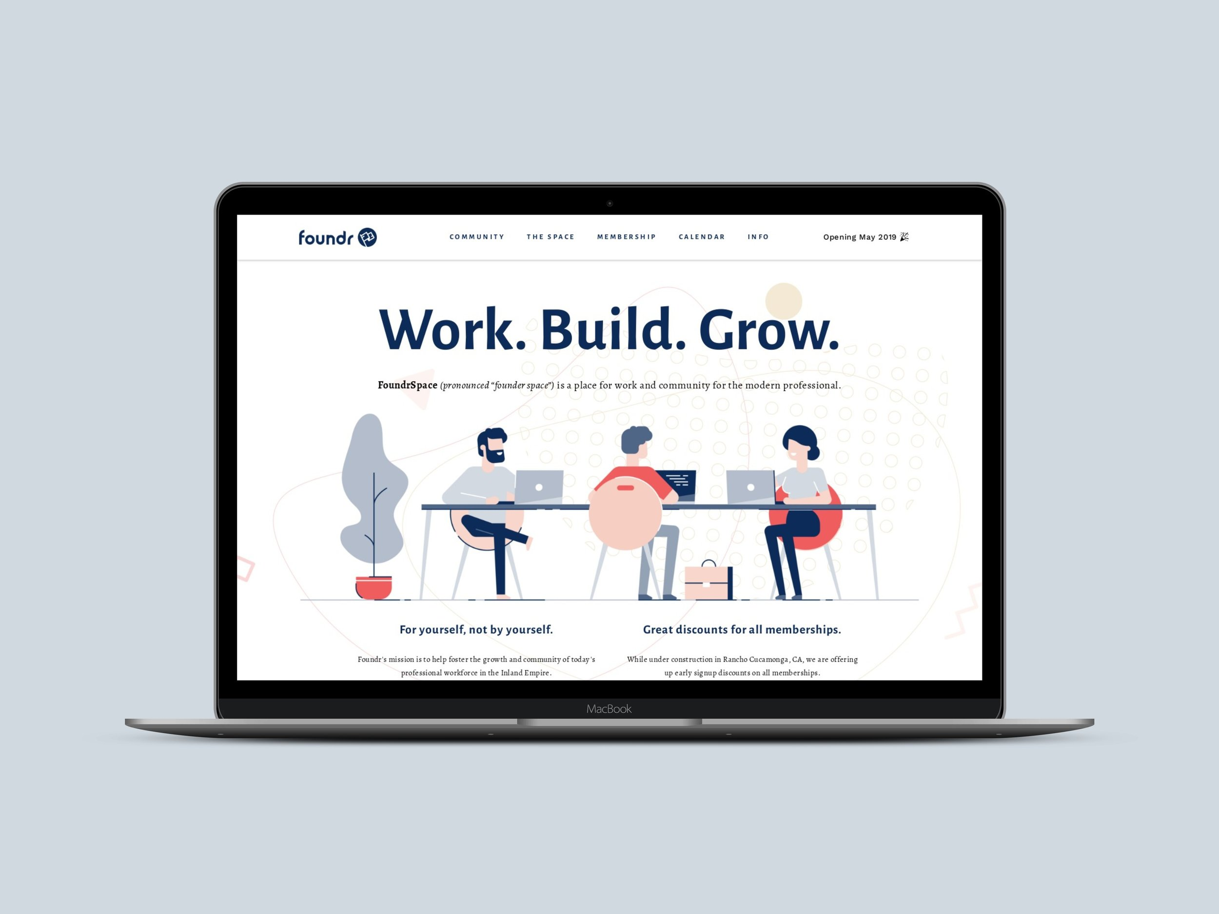 FoundrSpace - FoundrSpace is a coworking space in the Inland Empire that emphasizes community for today's modern professionals. We built their identity from the ground up including branding, logo design, and website design with custom illustrations.