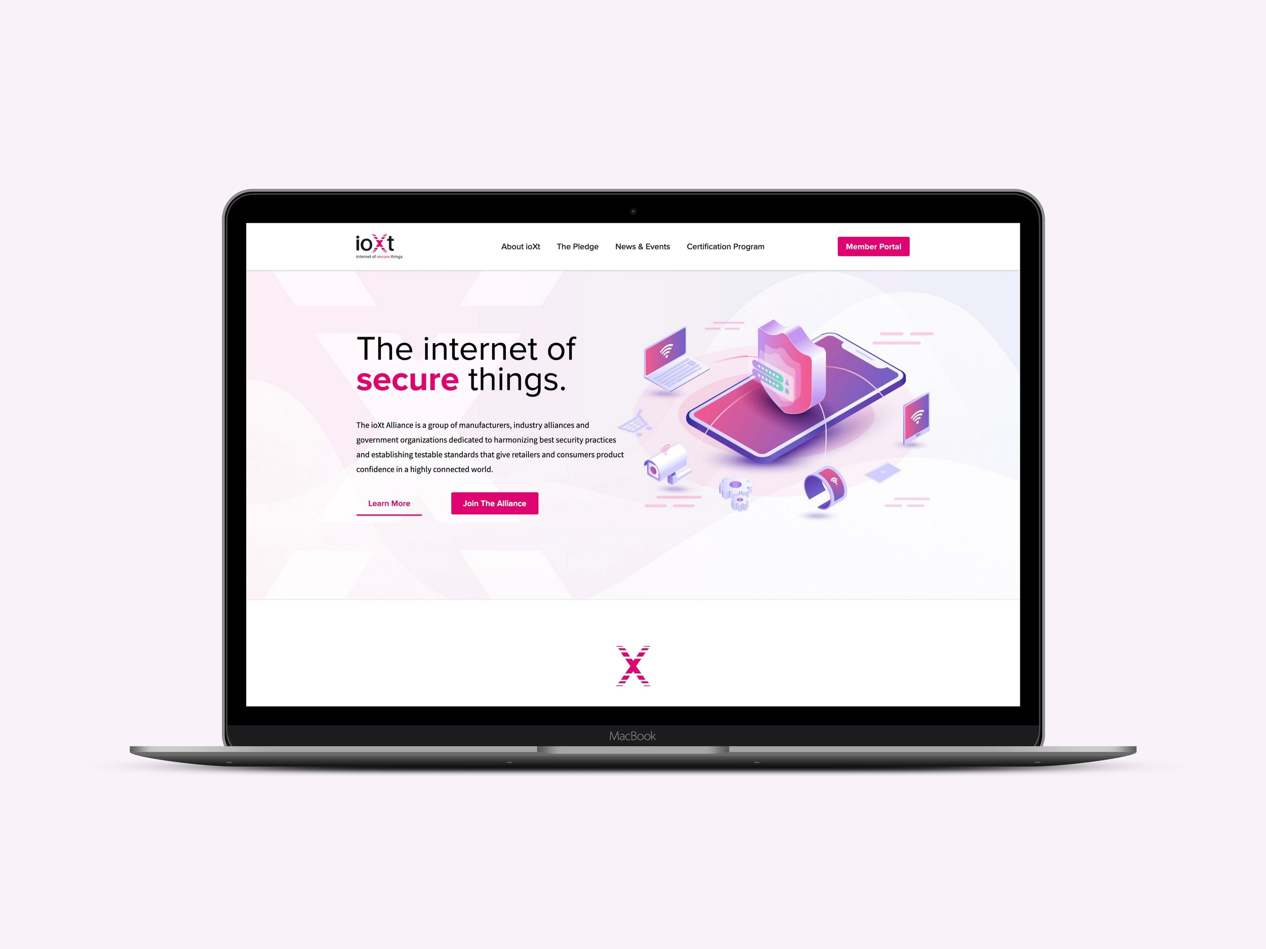 "ioXt Alliance - The ioXt Alliance is a group of companies that has come together to make safer and more secure ""internet of things."" This website includes custom illustrations we created to help communicate and support their messaging and copy."