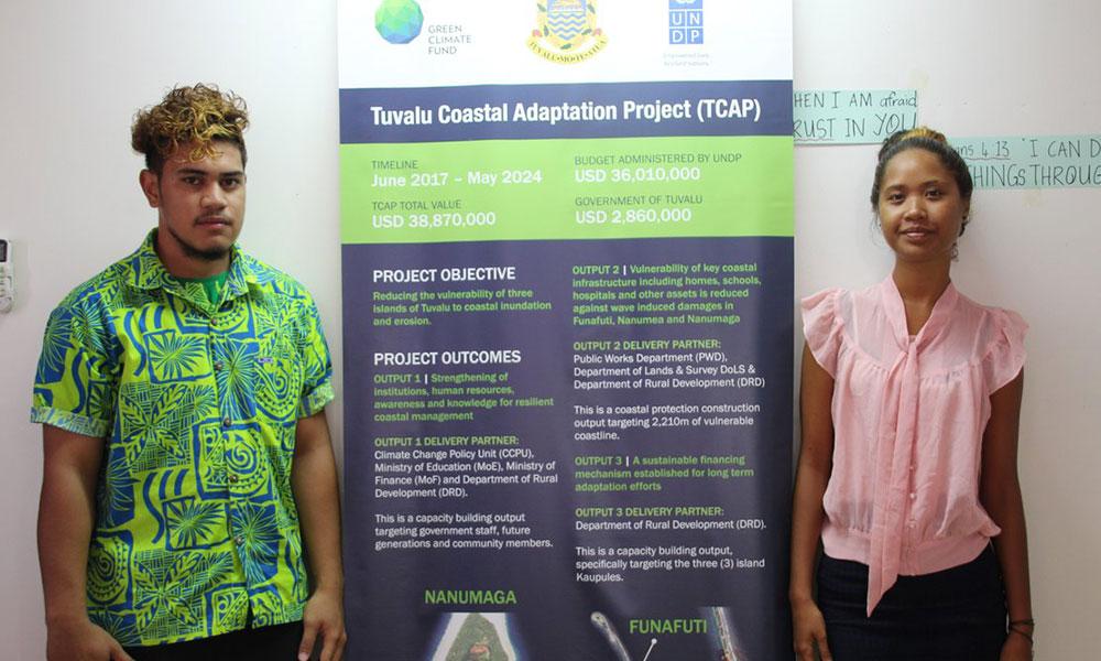 Two students from Tuvalu, Palaku Vaolilo Sakaio (left) and Tanu Sumeo have been granted university scholarships under the Tuvalu Coastal Adaptation Project. February 2018. Photo: Merana Kitione/UNDP